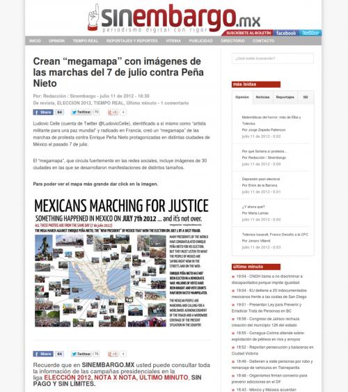 Presse-2012-07-11 Sin Embargo - Mega Mapa Mega Marcha